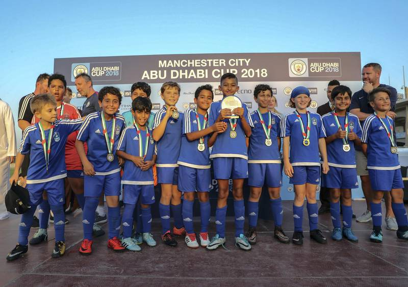 Abu Dhabi, March 24, 2018.  Manchester City Abu Dhabi Cup for juniors.  IFA Dubai takes the U-10 gold medal and plate.Victor Besa / The NationalSportsReporter:  Amith Passela