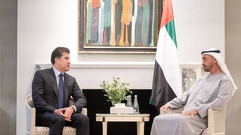 An image that illustrates this article Sheikh Mohamed bin Zayed meets Kurdistan Region president in London