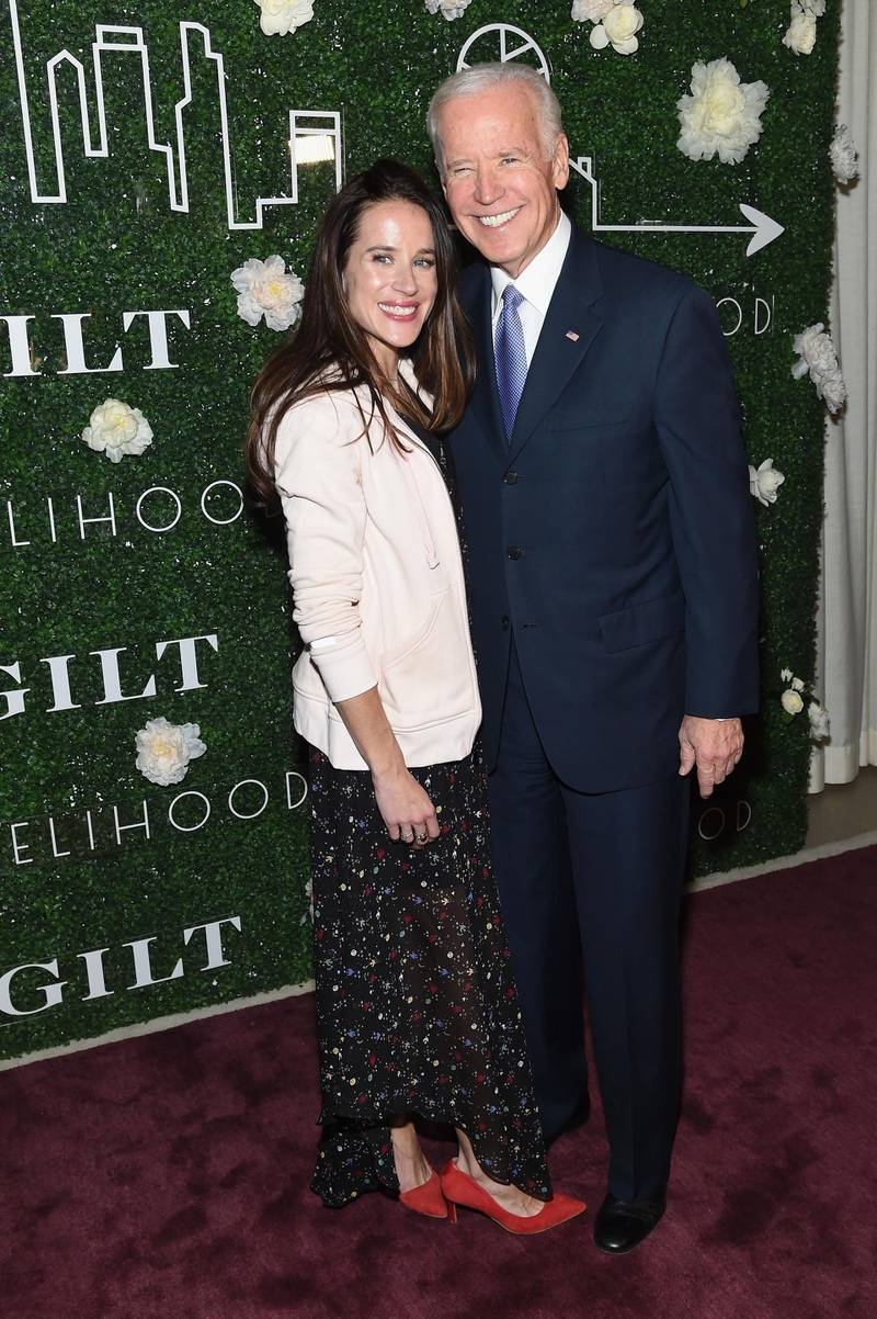 NEW YORK, NY - FEBRUARY 07: Livelihood founder Ashley Biden and Vice President Joe Biden attend the GILT and Ashley Biden celebration of the launch of exclusive Livelihood Collection at Spring Place on February 7, 2017 in New York City.   Jamie McCarthy/Getty Images for GILT/AFP