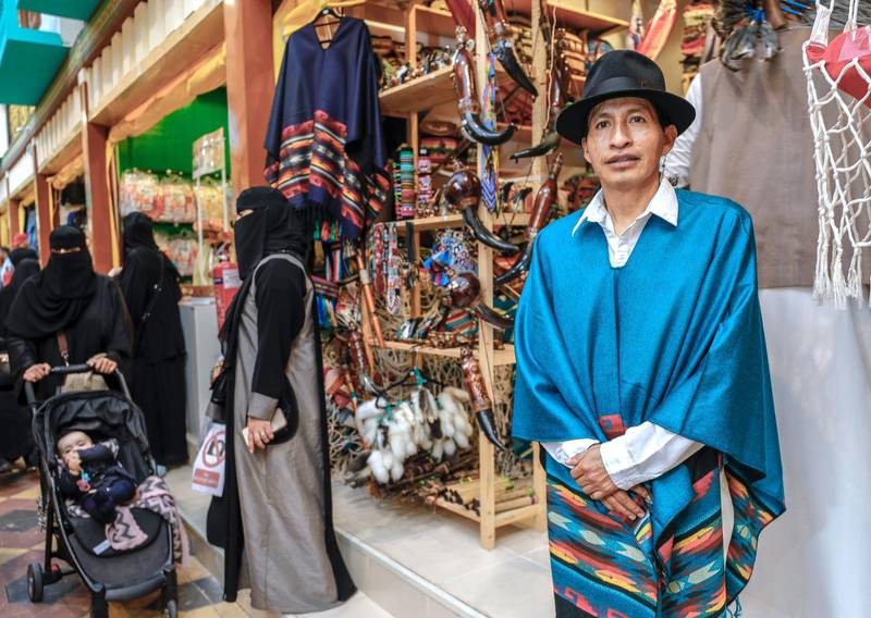 Abu Dhabi, United Arab Emirates, January 5, 2020.  Photo essay of Global Village.--  Jose Manuel Guandinango,Ecuador.Sells hand made garments from Ecuador.  He has been working at the Americas Pavillion for four years now.Victor Besa / The NationalSection:  WKReporter:  Katy Gillett