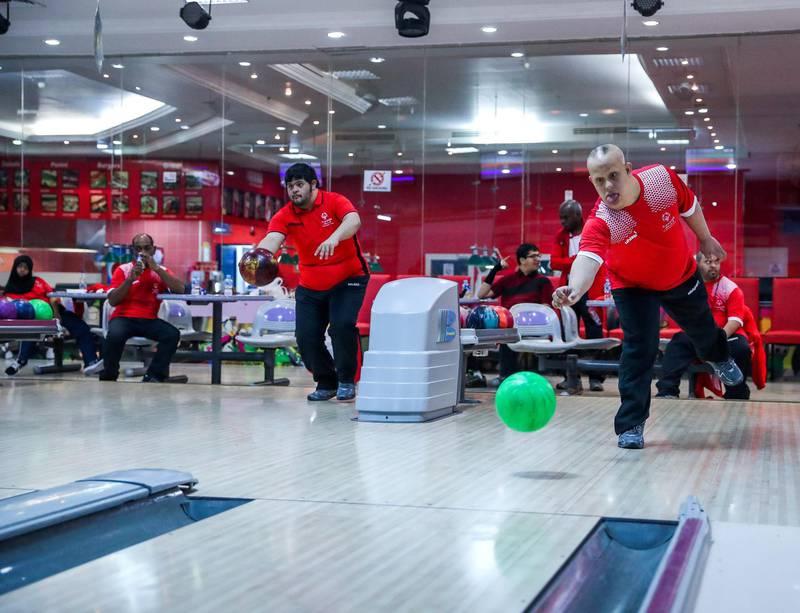 Al Ain, UAE, March 8, 2018.  UAE Special Olympics team training sessions.  UAE Mem's Bowling Team, Saif Al Hashemi in action.Victor Besa / The NationalNationalReporter; Ramola Talwar
