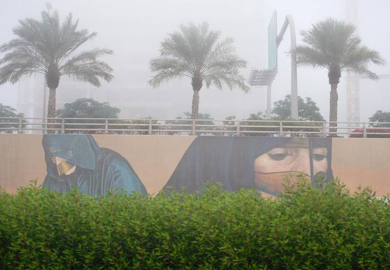 Abu Dhabi, United Arab Emirates, December 6, 2020.   Foggy morning at the Al Raha area.Victor Besa/The NationalSection:  NAFor:  Standalone/Stock Images