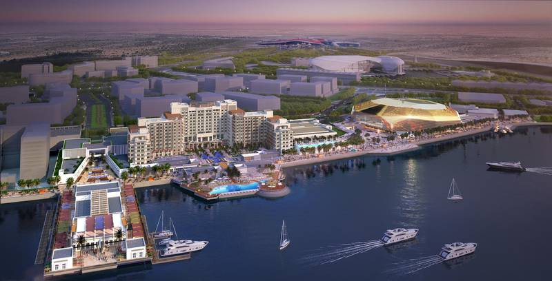 Yas Bay // ABU DHABI, UAE – 8 May 2017: Rendering of Miral's AED12 billion master development plan to transform the southern end of Yas Island in Abu Dhabi. The development is comprised of three distinct areas: Yas Bay, a vibrant public waterfront and entertainment district; the Media Zone, featuring the new campus of twofour54; and the Residences at Yas Bay, an urban island community, offering the complete Yas Island lifestyle. Courtesy Miral  *** Local Caption ***  Yas Bay.jpg