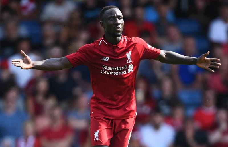 BURY, ENGLAND - JULY 14: Naby Keita of Liverpool reacts during a pre-season friendly match between Bury and Liverpool at Gigg Lane on July 14, 2018 in Bury, England. (Photo by Nathan Stirk/Getty Images)