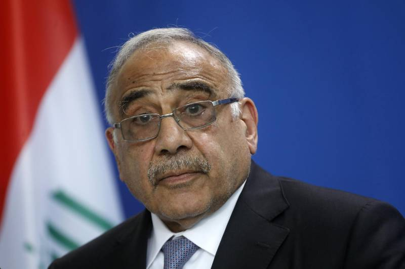 BERLIN, GERMANY - APRIL 30: Iraqi Prime Minister Adil Abdul-Mahdi addresses the media during a press conference at the Chancellery on April 30, 2019 in Berlin, Germany. This is Andul-Mahdi's first official visit to Germany since he became prime minister in 2018. (Photo by Michele Tantussi/Getty Images)