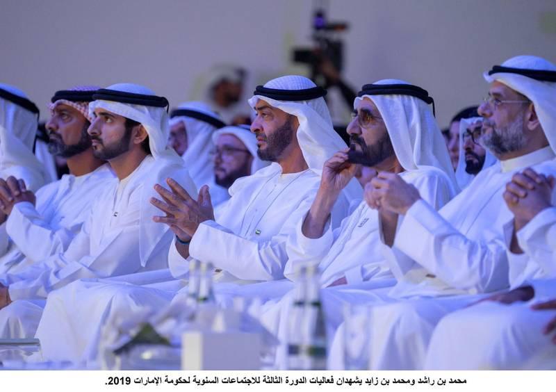 SAADIYAT ISLAND, ABU DHABI, UNITED ARAB EMIRATES - November 25, 2019: (R-L) HH Sheikh Sultan bin Mohamed Al Qasimi, Crown Prince of Sharjah, HH Sheikh Mohamed bin Rashid Al Maktoum, Vice-President, Prime Minister of the UAE, Ruler of Dubai and Minister of Defence, HH Sheikh Mohamed bin Zayed Al Nahyan, Crown Prince of Abu Dhabi and Deputy Supreme Commander of the UAE Armed Forces, HH Sheikh Hamdan bin Mohamed Al Maktoum, Crown Prince of Dubai and HH Sheikh Ammar bin Humaid Al Nuaimi, Crown Prince of Ajman, attend the UAE Government Annual Meeting at the St Regis Saadiyat.( Rashed Al Mansoori / Ministry of Presidential Affairs )---
