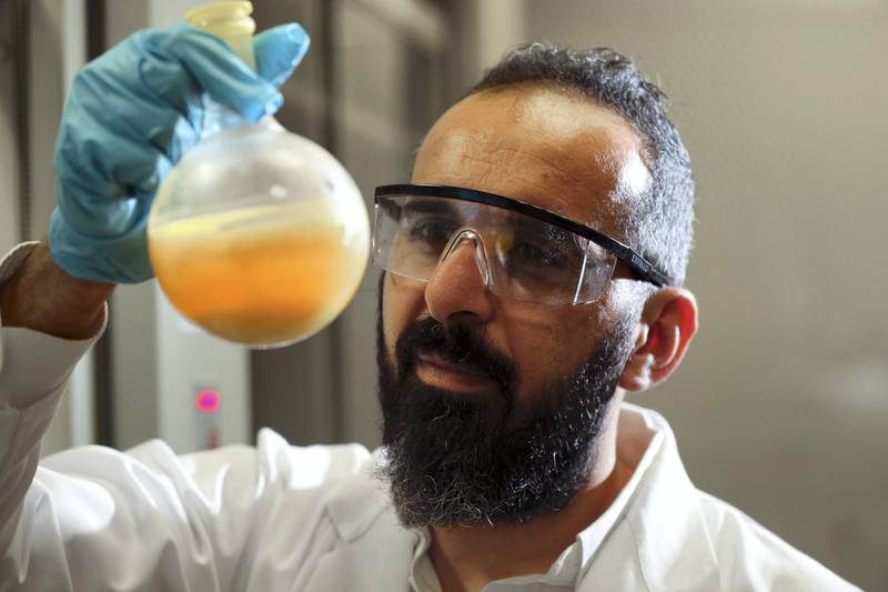 Abu Dhabi, United Arab Emirates - May 22, 2019: An article about research at New York University Abu Dhabi into new ways of delivering anti-cancer drugs into cancer cells. An associate professor at the university, Dr Ali Trabolsi, has published a paper showing positive results on cancer cell lines and zebrafish embryos using a type of anti-cancer molecule that his lab has developed. Wednesday the 22nd of May 2019. NYU Abu Dhabi, Abu Dhabi. Chris Whiteoak / The National