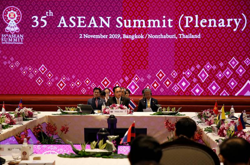 epa07966390 Thailand's Prime Minister Prayut Chan-o-cha (C) delivers an opening speech during the 35th Association of Southeast Asian Nations (ASEAN) Summit (Plenary) meeting at IMPACT Muang Thong Thani in Nonthaburi province, Thailand, 02 November 2019. Thailand is hosting the 35th ASEAN Summit, which will run from 02 to 04 November 2019.  EPA/PONGMANAT TASIRI