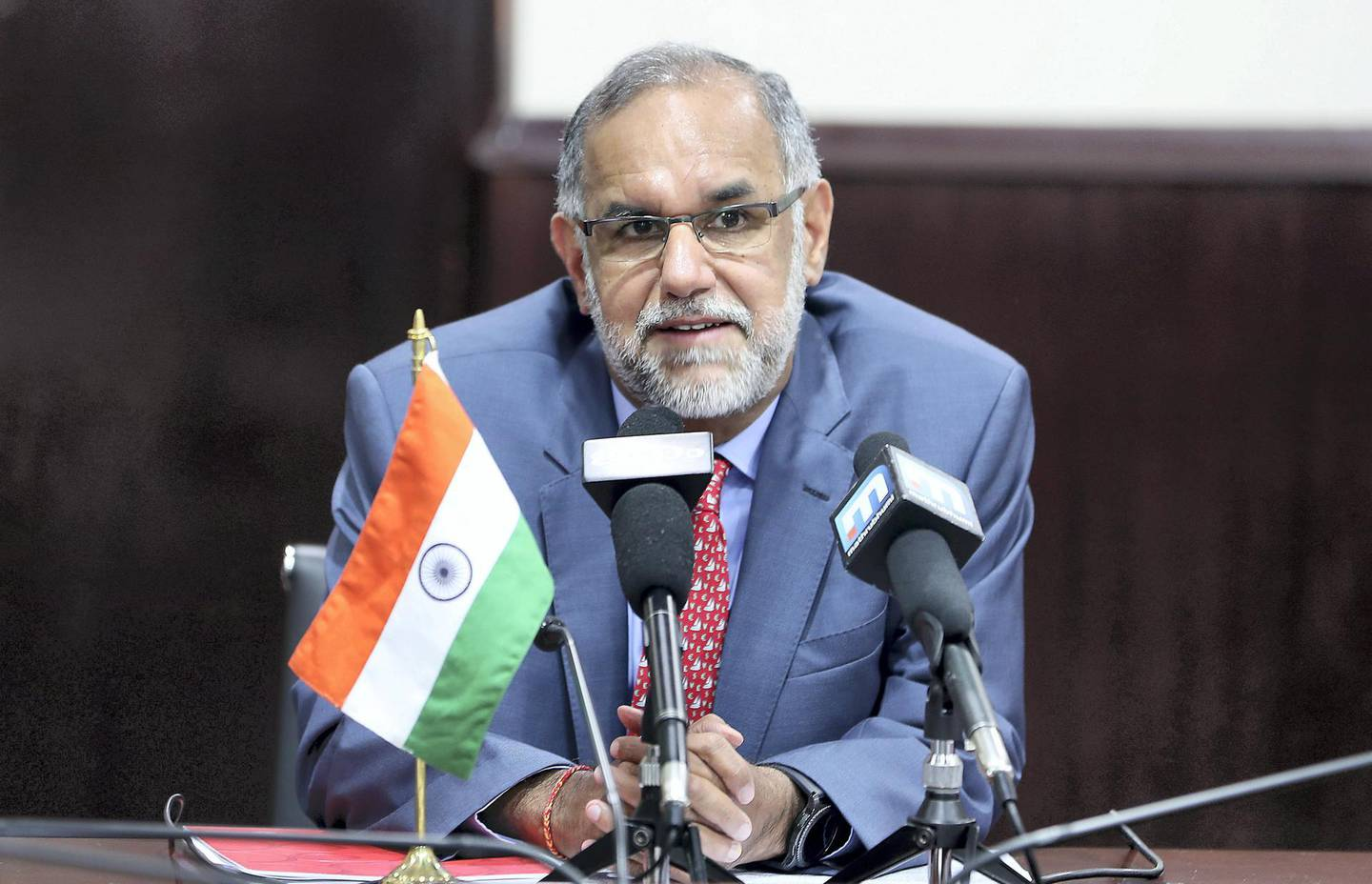 ABU DHABI, UNITED ARAB EMIRATES, August 20 – 2018 :- Navdeep Suri, Ambassador of India talking to media during the press conference about the Kerala floods situation held at the Embassy of India in Abu Dhabi. ( Pawan Singh / The National )  For News. Story by Haneen