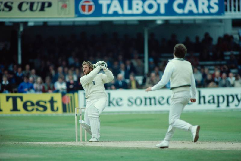 England captain Ian Botham hits a cover drive for 4 off Terry Alderman during the 1st test match against Australia at Trent Bridge, Nottingham, June 1981. England lost the match but won the series, which came to be known as 'Botham's Ashes'. (Photo by Adrian Murrell/Getty Images)