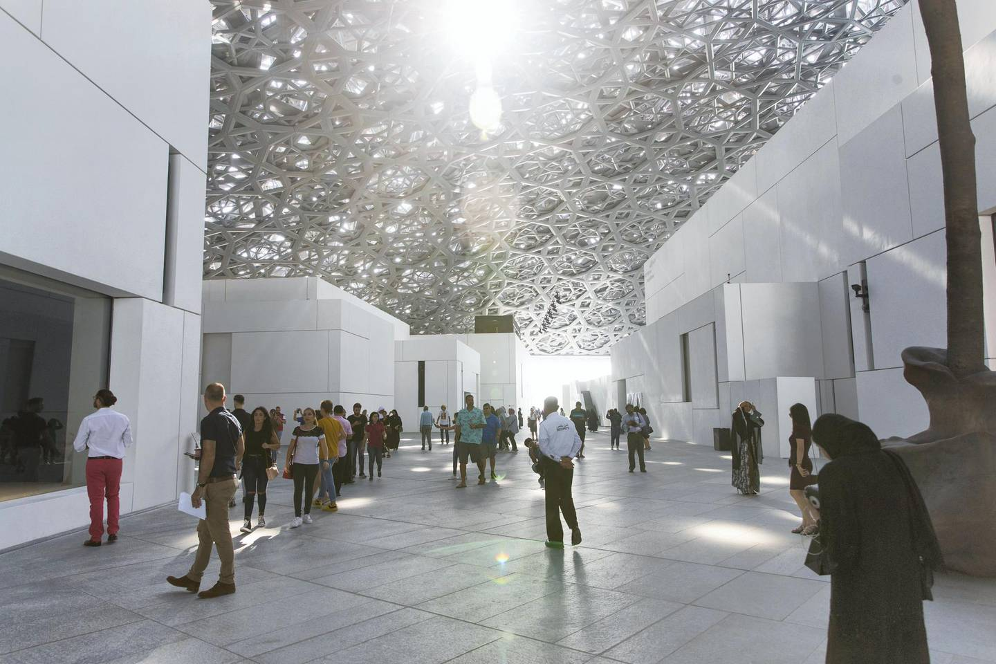 Abu Dhabi, United Arab Emirates, November 11, 2017:    Visitors attend the opening day at the Louvre Abbu Dhabi on Saadiyat Island in Abu Dhabi on November 11, 2017. Christopher Pike / The National  Reporter: James Langton, John Dennehy Section: News
