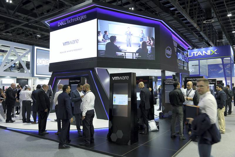 Dubai, 08, Oct, 2017 : Visitors browse the Dell stands  during the  37th Gitex Technology Week at the World Trade Centre in Dubai. Satish Kumar / For the National