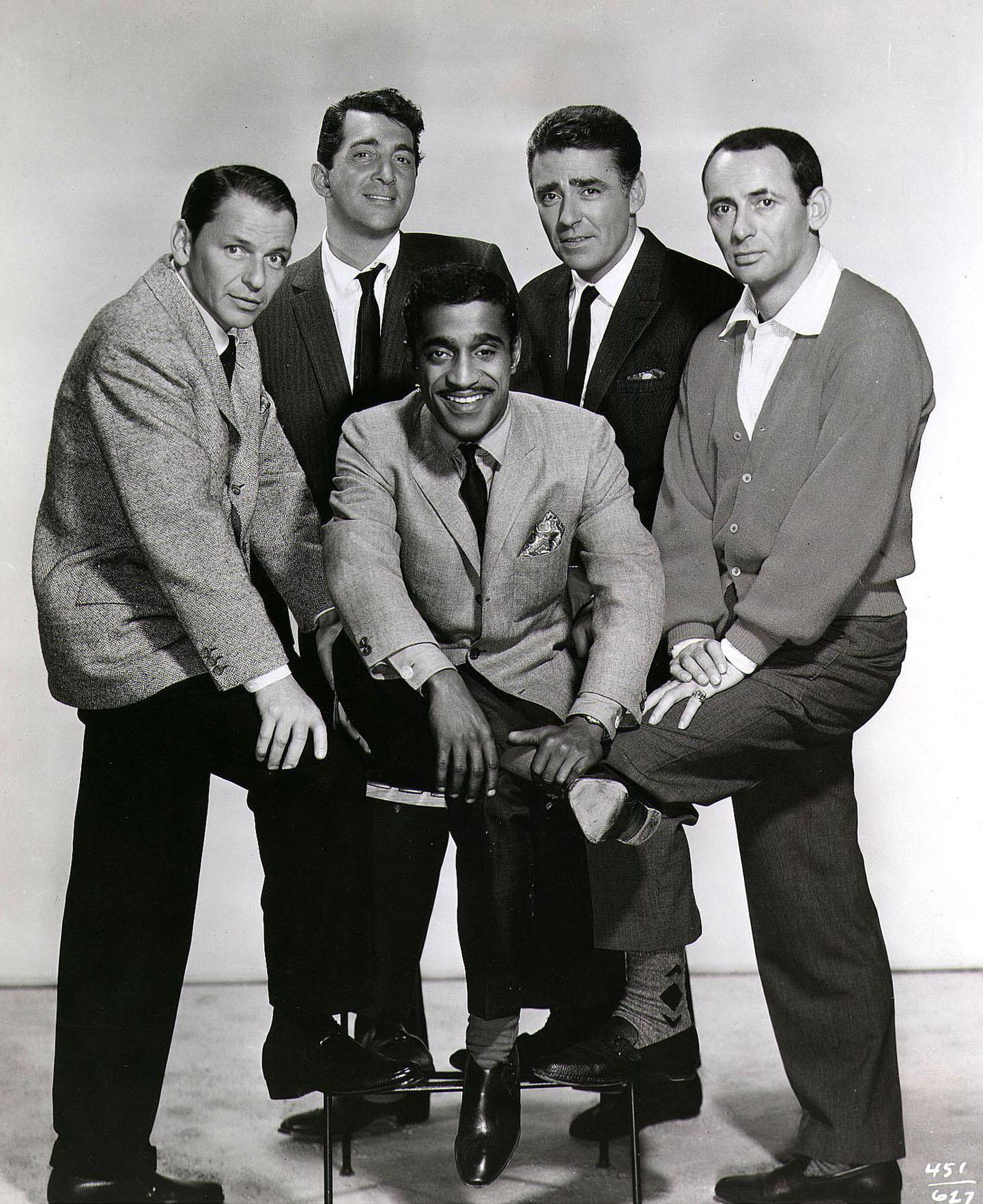 FILE PHOTO: An undated promotional photo of the ''Rat Pack'', (from left)Frank Sinatra, Dean Martin, Sammy Davis Jr., Peter Lawford and Joey Bishop. (photo by Newsmakers)