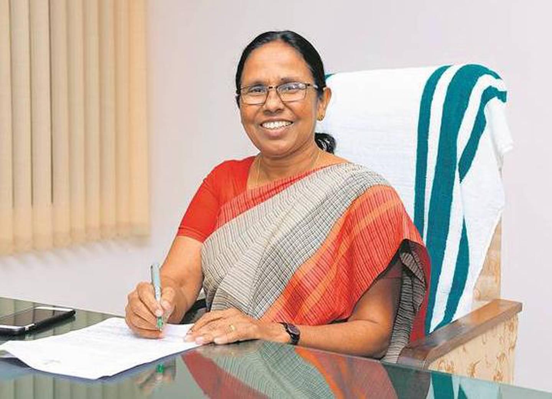 State health minister KK Shailaja. Courtesy: ANI twitter account