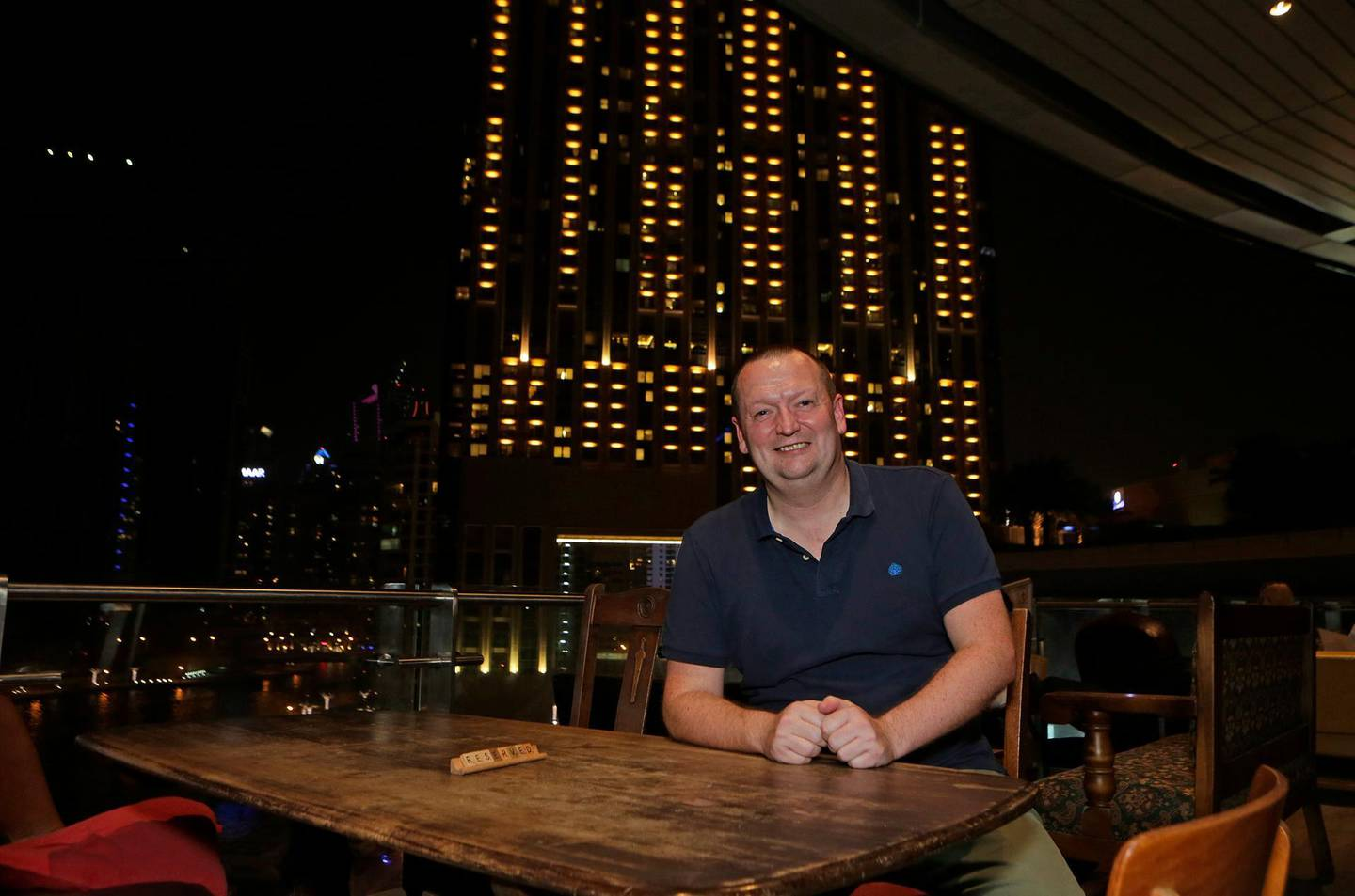 Dubai, United Arab Emirates - October 13, 2016.  Chris Battle ( 46 years old from UK and Commercial Manager ) spearhead the Property Hub Dubai meet up at The Scene.  ( Jeffrey E Biteng / The National )  Editor's Note;  ID 19421 *** Local Caption ***  JB131016-Chris05.jpg