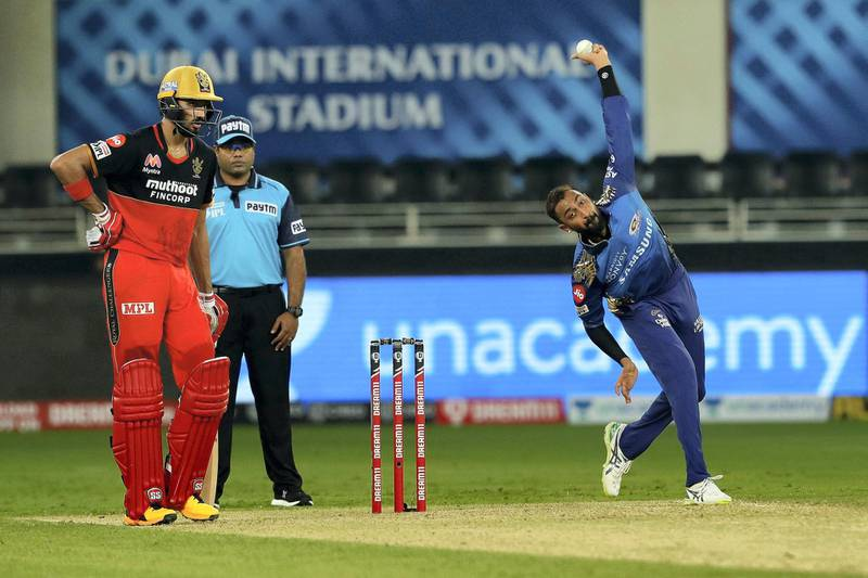 Krunal Pandya of Mumbai Indians  bowling during match 10 of season 13 of the Dream 11 Indian Premier League (IPL) between The Royal Challengers Bangalore and The Mumbai Indians held at the Dubai International Cricket Stadium, Dubai in the United Arab Emirates on the 28th September 2020.  Photo by: Saikat Das  / Sportzpics for BCCI