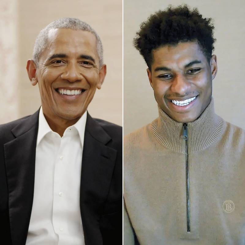 EMBARGOED TO 0001 FRIDAY MAY 28 Handout photo provided by Penguin Random House of President Barack Obama and Manchester United and England footballer Marcus Rashford MBE. Issue date: Friday May 28, 2021. Marcus Rashford has been recorded in conversation with President Barack Obama discussing the power young people can have to make change in society. See PA story SOCCER Rashford. Photo credit should read: Handout Photo/Penguin Random House/PA Wire.NOTE TO EDITORS: This handout photo may only be used in for editorial reporting purposes for the contemporaneous illustration of events, things or the people in the image or facts mentioned in the caption. Reuse of the picture may require further permission from the copyright holder.