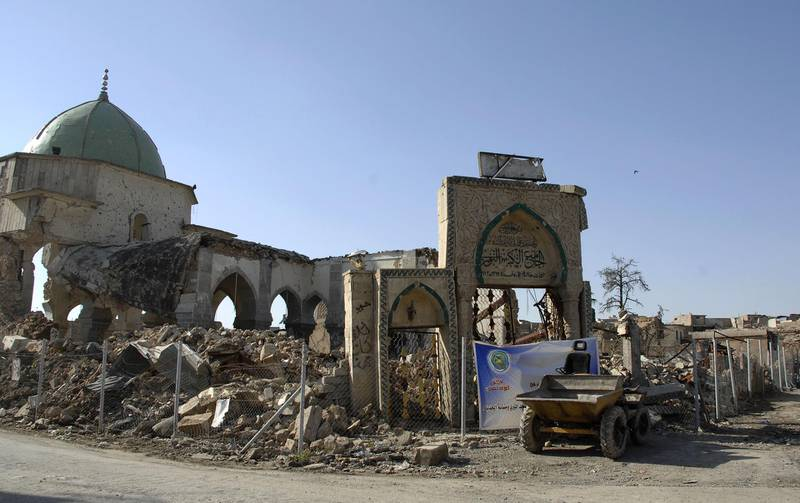 A view of the destroyed al-Nuri mosque is seen in the old city of Mosul in northern Iraq on April 23, 2018. The United Arab Emirates and Iraq launched a joint effort to reconstruct Mosul's Great Mosque of al-Nuri and its iconic leaning minaret, ravaged last year during battles to retake the city from jihadists. During the ceremony at Baghdad's National Museum, UAE Culture Minister Noura al-Kaabi said her country would put forward $50.4 million (41.2 million euros) for the task.   / AFP PHOTO / Zaid al-Obeidi