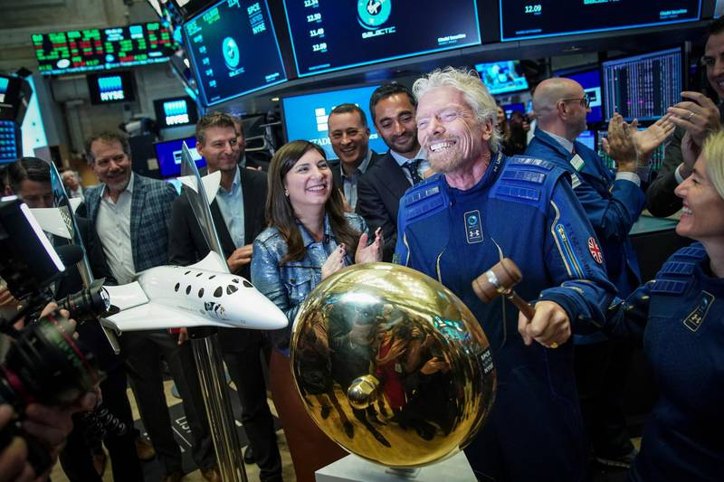 NEW YORK, NY - OCTOBER 28: Sir Richard Branson, Founder of Virgin Galactic, rings a ceremonial bell on the floor of the New York Stock Exchange (NYSE) to promote the first day of trading of Virgin Galactic Holdings shares on October 28, 2019 in New York City. Virgin Galactic Holdings became the first space-tourism company to go public as it began trading on Monday with a market value of about $1 billion. (Photo by Drew Angerer/Getty Images)