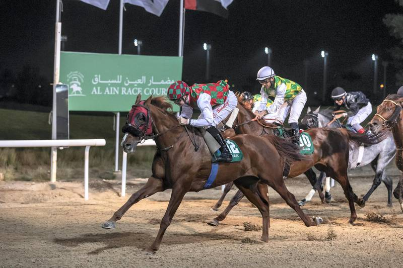 ABU DHABI, UNITED ARAB EMIRATES. 05 MARCH 2020. Race 6 at Al Ain Equestrian Club. Purebred Arabians. Winner nr 12 Somoud, (Fr 6yrs) ridden by Connor Beasley and trained by Ahmed Al Mehairbi. (Photo: Antonie Robertson/The National) Journalist: Amith Passela. Section: Sport.