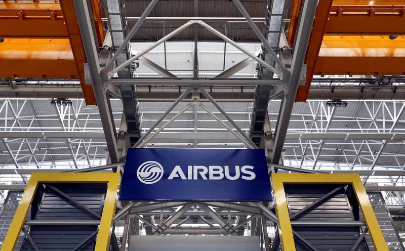 FILE PHOTO: Logo of Airbus is pictured at the Airbus A380 final assembly line at Airbus headquarters in Blagnac near Toulouse, France, March 21, 2018. REUTERS/Regis Duvignau/File Photo