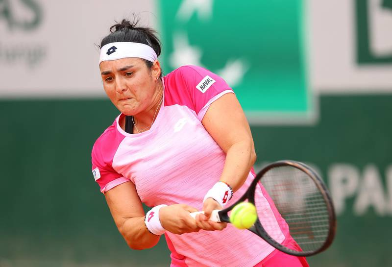 PARIS, FRANCE - OCTOBER 03: Ons Jabeur of Tunisia plays a backhand during her Women's Singles third round match against Aryna Sabalenka of Belarus on day seven of the 2020 French Open at Roland Garros on October 03, 2020 in Paris, France. (Photo by Julian Finney/Getty Images)