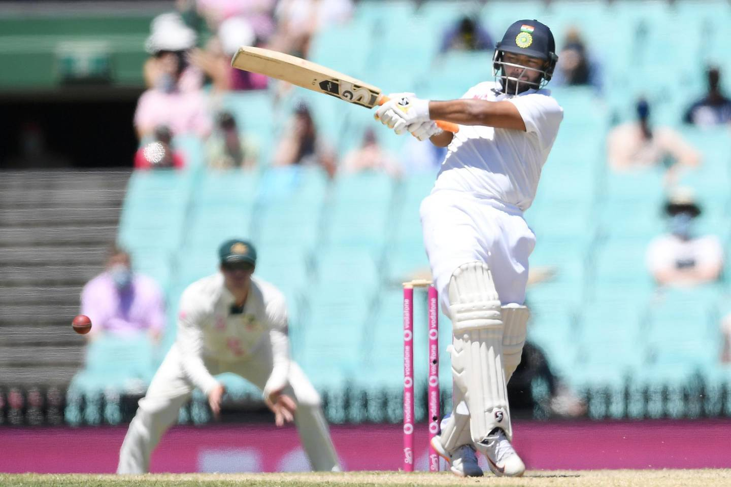 Rishabh Pant of India hits for 4 runs during the final day of the third test match between Australia and India at the SCG, Sydney, Australia, January 11, 2021. AAP Image/Dean Lewins via REUTERS  ATTENTION EDITORS - THIS IMAGE WAS PROVIDED BY A THIRD PARTY. NO RESALES. NO ARCHIVE. AUSTRALIA OUT. NEW ZEALAND OUT