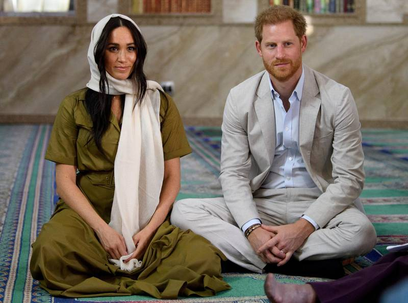 The Duke and Duchess of Sussex, Prince Harry and his wife Meghan, visit Auwal Mosque, the first and oldest mosque in South Africa, in the Bo Kaap district of Cape Town, South Africa, September 24, 2019. Tim Rooke/Pool via REUTERS