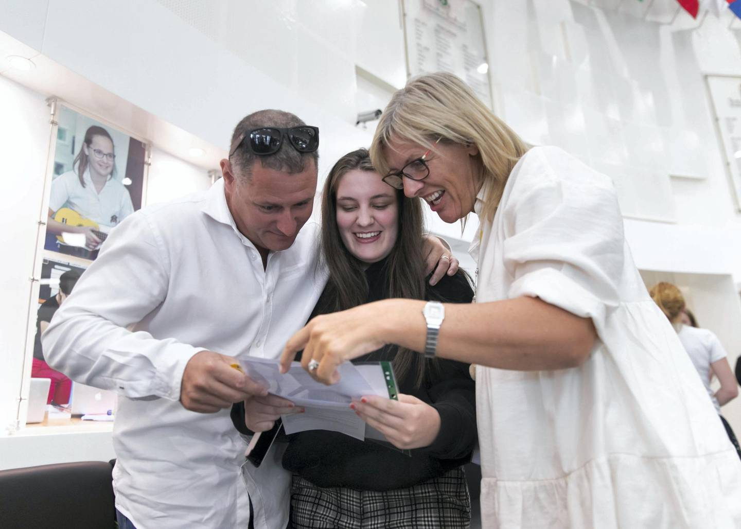 DUBAI, UNITED ARAB EMIRATES. 15 AUGUST 2019. Lucy Drake receives her A-Level results at Jumeirah College school.(Photo: Reem Mohammed/The National)Reporter:Section: