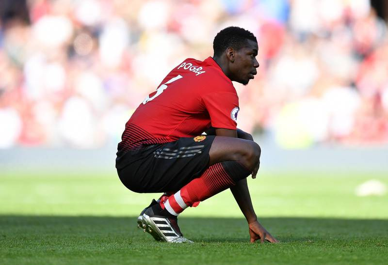 MANCHESTER, ENGLAND - MAY 12: Paul Pogba of Manchester United looks dejected following his side's defeat during the Premier League match between Manchester United and Cardiff City at Old Trafford on May 12, 2019 in Manchester, United Kingdom. (Photo by Dan Mullan/Getty Images)