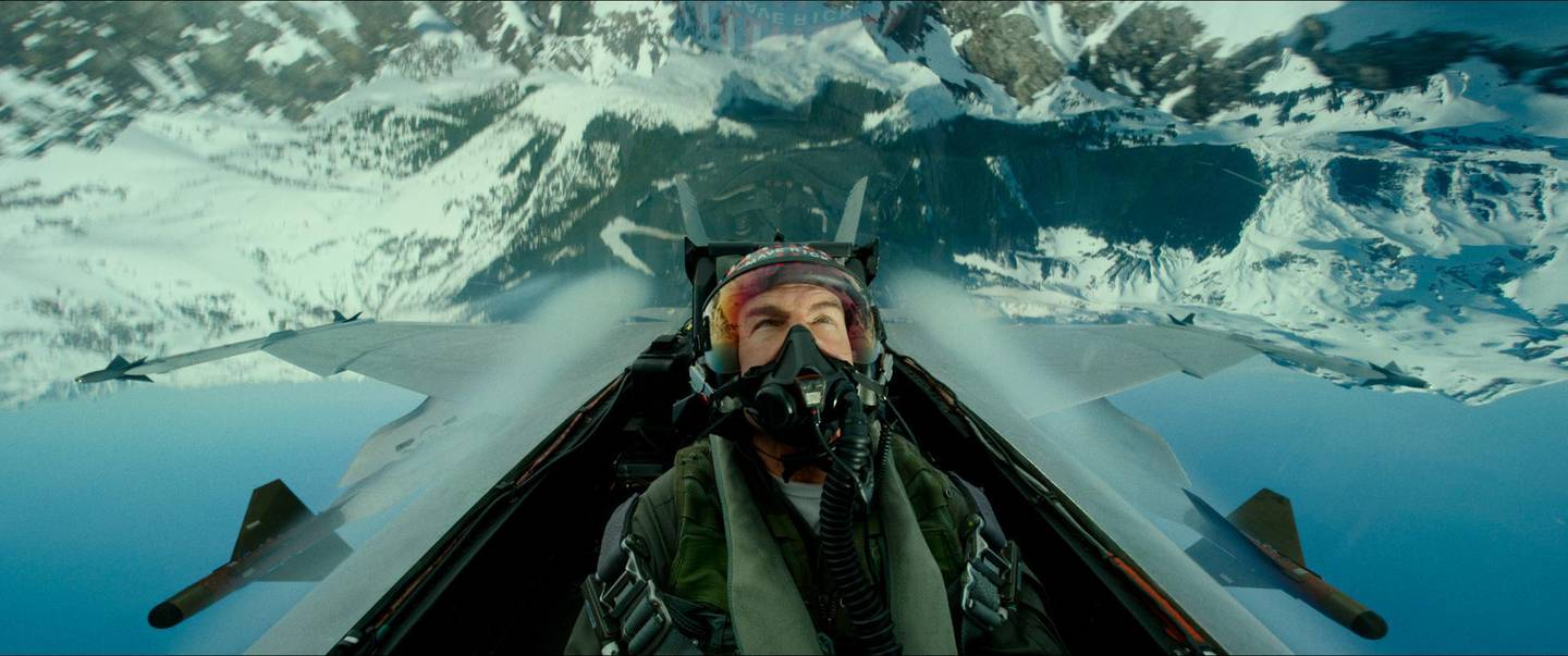 """This image released by Paramount Pictures shows Tom Cruise portraying Capt. Pete """"Maverick"""" Mitchell in a scene from """"Top Gun: Maverick."""" The film will open Dec. 23. (Paramount Pictures via AP)"""