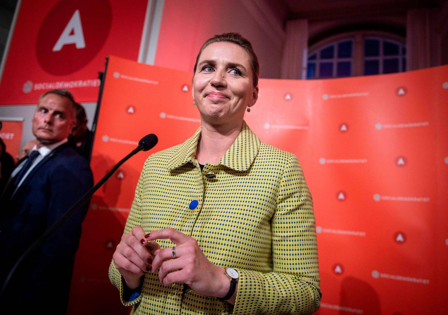 """Opposition leader Mette Frederiksen of The Danish Social Democrats after the election results at Christiansborg Castle in Copenhagen early June 6, 2019, during the country's parliamentary elections. The likely future prime minister of Denmark, Mette Frederiksen, embodies the new Danish Social Democratic model, with a new-found focus on restrictive immigration while championing the welfare state. Frederiksen """"has workers' blood in her veins, is a fourth generation Social Democrat... and spent years preparing to take over the leadership (in 2015) of the party she knows so well,"""" daily Politiken wrote just days before Wednesday's general election in which she ultimately emerged victorious.  - Denmark OUT  / AFP / Ritzau Scanpix / Liselotte Sabroe"""