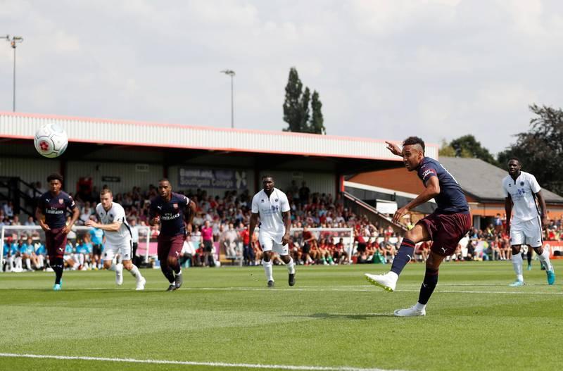 Soccer Football - Pre Season Friendly - Boreham Wood v Arsenal - Meadow Park, Borehamwood, Britain - July 14, 2018   Arsenal's Pierre-Emerick Aubameyang scores a goal   Action Images via Reuters/Paul Childs