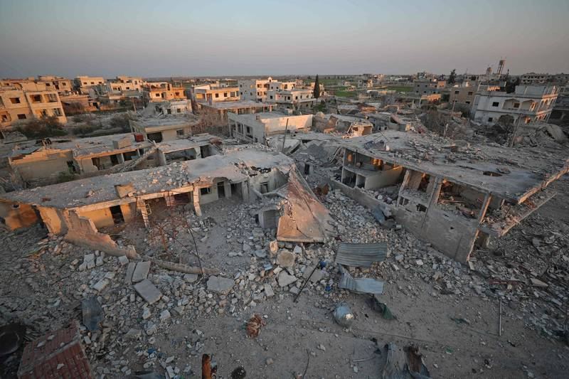 A picture taken on March 7, 2020 shows destruction in the village of al-Nayrab, about 14 kilometres southeast of the city of Idlib in northwestern Syria.  / AFP / Omar HAJ KADOUR
