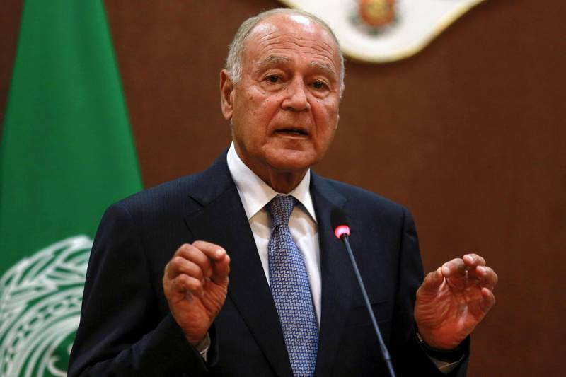 Arab League Secretary-General Ahmed Aboul Gheit speaks during a joint press conference with Jordanian Foreign Minister in Amman on October 20, 2019.  / AFP / Khalil MAZRAAWI