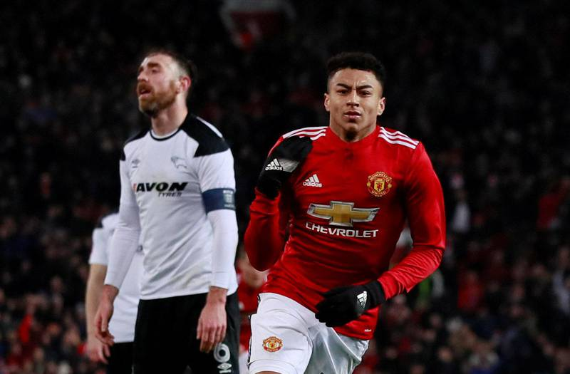 Soccer Football - FA Cup Third Round - Manchester United vs Derby County - Old Trafford, Manchester, Britain - January 5, 2018   Manchester United's Jesse Lingard celebrates scoring their first goal    Action Images via Reuters/Jason Cairnduff     TPX IMAGES OF THE DAY