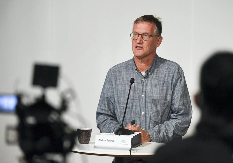 State epidemiologist Anders Tegnell of the Public Health Agency of Sweden speaks during a news conference updating on the coronavirus pandemic (Covid-19) situation, in Stockholm, Sweden, on September 1, 2020. (Photo by Pontus LUNDAHL / TT NEWS AGENCY / AFP) / Sweden OUT
