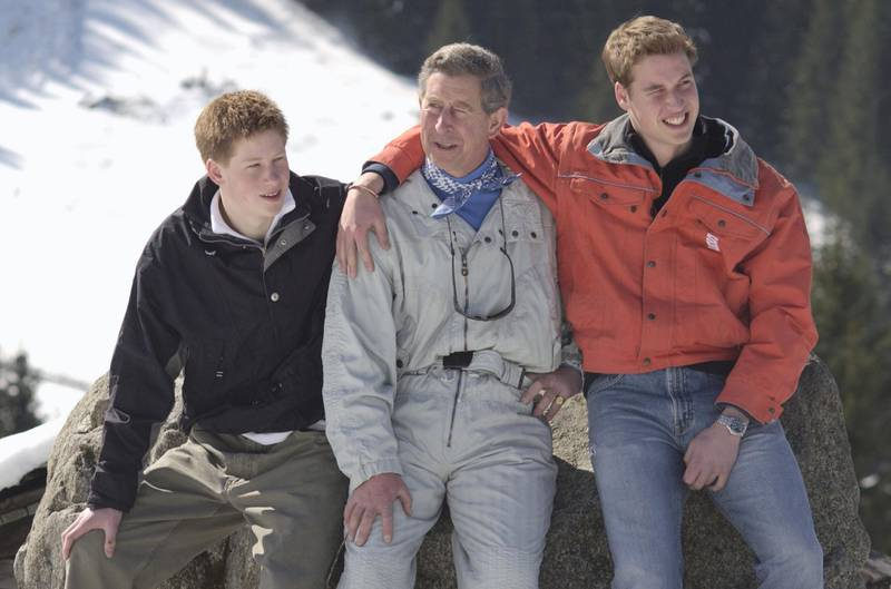 403058 12: Prince Charles and his sons William (R) and Harry (L) appear at a photocall March 29, 2002 in the Swiss village of Klosters at the start of his annual sking holiday in the Swiss Alps. (Photo by Julian Herbert/Getty Images)