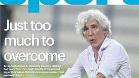 Thursday cover: Just too much to overcome for Al Nasr