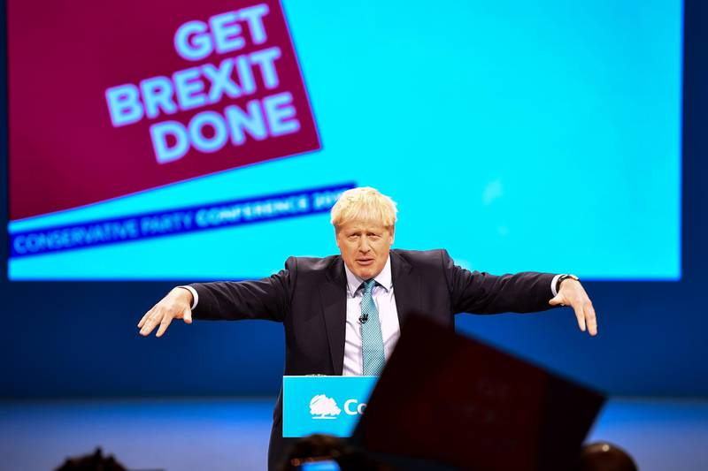 MANCHESTER, ENGLAND - OCTOBER 02: Prime Minister Boris Johnson delivers his keynote speech on day four of the 2019 Conservative Party Conference at Manchester Central on October 2, 2019 in Manchester, England. The U.K. government prepares to formally submit its finalised Brexit plan to the EU today. The offer replaces the Northern Irish Backstop with border, customs and regulatory checks lasting until 2025. (Photo by Jeff J Mitchell/Getty Images)