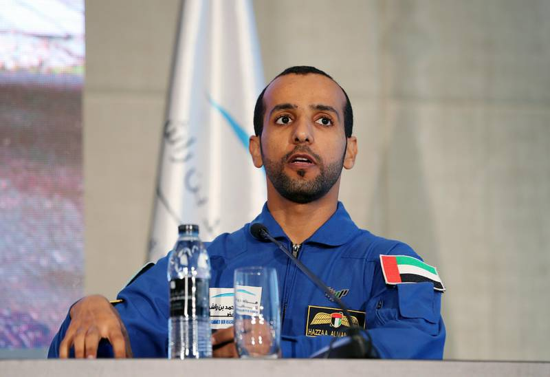 Dubai, United Arab Emirates - Reporter: Sarwat Nasir: The UAE's first Emirati astronaut Hazza Al Mansoori. Press conference by MBRSC to announce details of search for next UAE astronaut. Tuesday, 3rd of March, 2020. Downtown, Dubai. Chris Whiteoak / The National