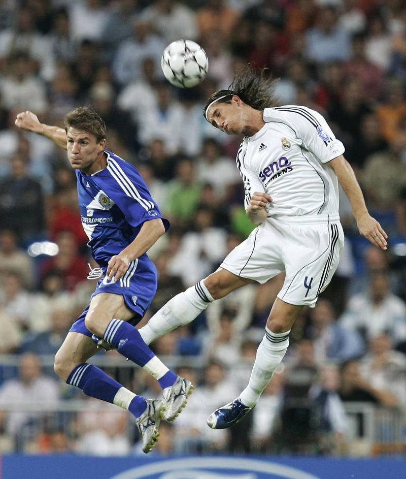 MADRID, SPAIN - SEPTEMBER 26: Sergio Ramos (R) of Real Madrid goes for a high ball against Maksim Shatskikh of Dynamo Kiev during a  UEFA Champions League Group E match between Real Madrid and Dynamo Kiev at the Santiago Bernabeu stadium on September 26, 2006 in Madrid, Spain. (Photo by Denis Doyle/Getty Images)