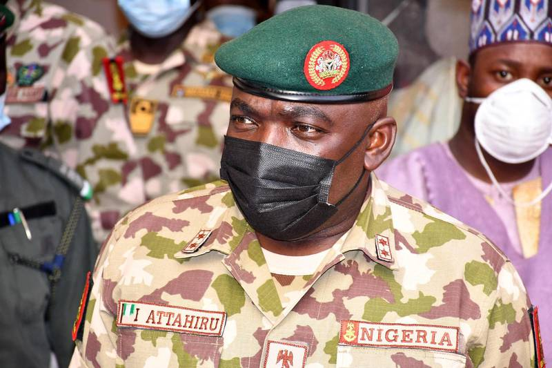 (FILES) In this file photo taken on January 31, 2021 Chief of Army Staff Major General Ibrahim Attahiru is seen at the theatre command operations Lafiya Dole headquarters in Maiduguri, Nigeria. Nigeria's top-ranking army commander General Ibrahim Attahiru was killed on on May 21, 2021 when his plane crashed in the country's north, an air force spokesman said. Attahiru was appointed by President Muhammadu Buhari in January in a shakeup of the top military command to better fight surging violence and a more than decade-long jihadist insurgency. / AFP / Audu Marte