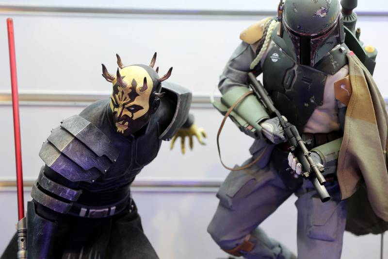 Dubai, United Arab Emirates - May 26, 2019: Photo Project. Savage opress-clone (L) and Boba Fett figures. Comicave is the WorldÕs largest pop culture superstore involved in the retail and distribution of high-end collectibles, pop-culture merchandise, apparels, novelty items, and likes. Thursday the 30th of May 2019. Dubai Outlet Mall, Dubai. Chris Whiteoak / The National
