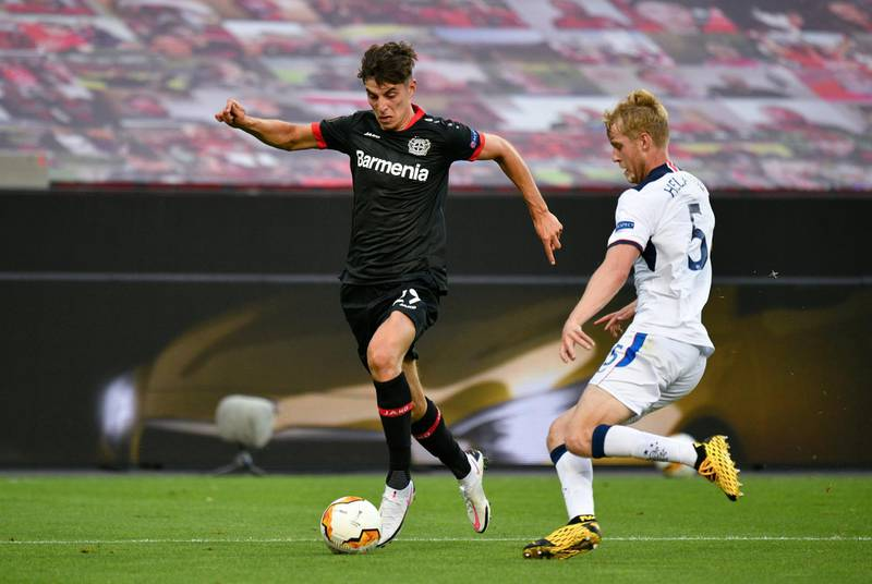 """File photo dated 06-08-2020 of Bayer 04 Leverkusen's Kai Havertz (left). PA Photo. Issue date: Friday September 4, 2020. Bayer Leverkusen forward Kai Havertz has left the Germany squad """"to clarify matters surrounding a potential move to Chelsea"""", the Bundesliga club have announced. See PA story Chelsea. Photo credit should read Sascha Schuermann/PA Wire."""