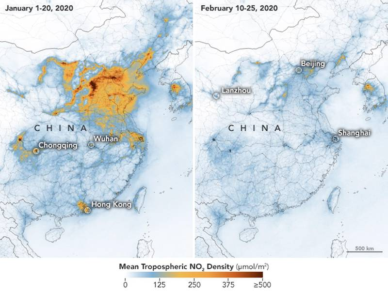 epa08261628 (COMPOSITE) A handout composite picture made available by the National Aeronautics and Space Administration (NASA) of maps showing the concentrations of nitrogen dioxide (NO2) over China between 01 January 2020 (L) and 25 February 2020 (R) (issued 01 March 2020). NASA and European Space Agency (ESA) pollution monitoring satellites have detected significant decreases in nitrogen dioxide -- a noxious gas emitted by motor vehicles, power plants, and industrial facilities -- over China. According to scientists, there is evidence that the change is at least partly related to the novel coronavirus quarantine, Chinese New Year, and to an overall economic slowdown. The maps above show NO2 values across China from 01 to 20 January 2020 (before the novel coronavirus quarantine) and from 10 to 25 February 2020 (during the quarantine).  EPA/NASA HANDOUT -- BEST QUALITY AVAILABLE -- HANDOUT EDITORIAL USE ONLY/NO SALES