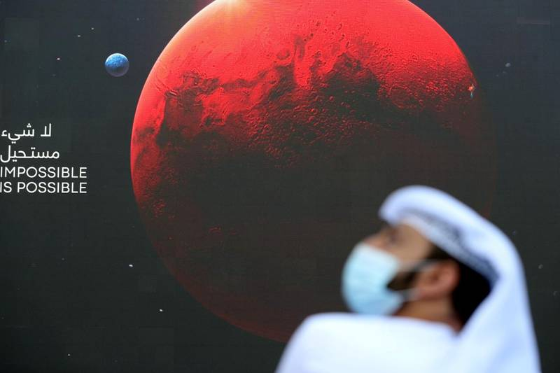 Dubai, United Arab Emirates - Reporter: Sarwat Nasir. News. Mars Mission. Guests arrive at an event at Burj Park to celebrate the Hope probe going into orbit around Mars. Tuesday, February 9th, 2021. Dubai. Chris Whiteoak / The National