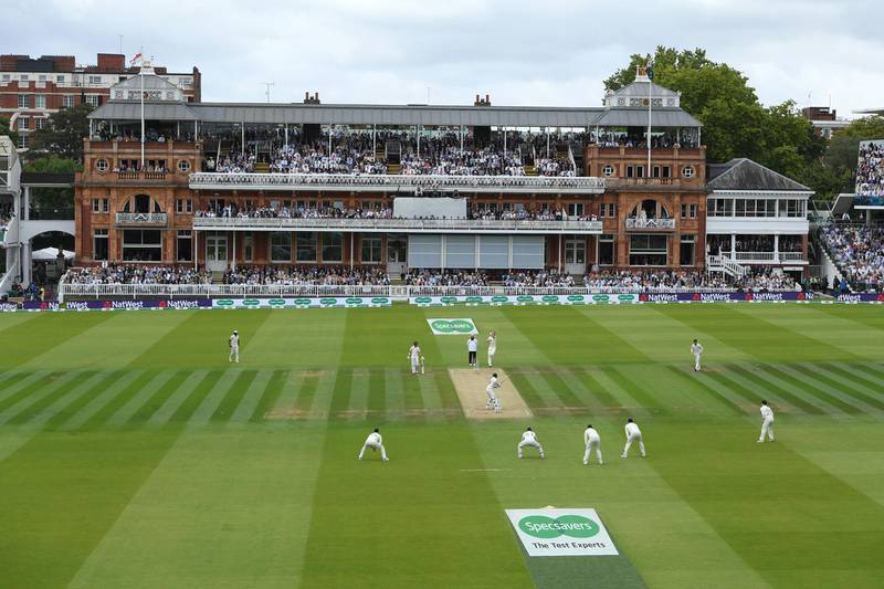 LONDON, ENGLAND - AUGUST 17: A general view of the pavillion at Lords as Stuart Broad bowls to Steve Smith during day four of the 2nd Test Match between England and Australia at Lord's Cricket Ground on August 17, 2019 in London, England. (Photo by Stu Forster/Getty Images)