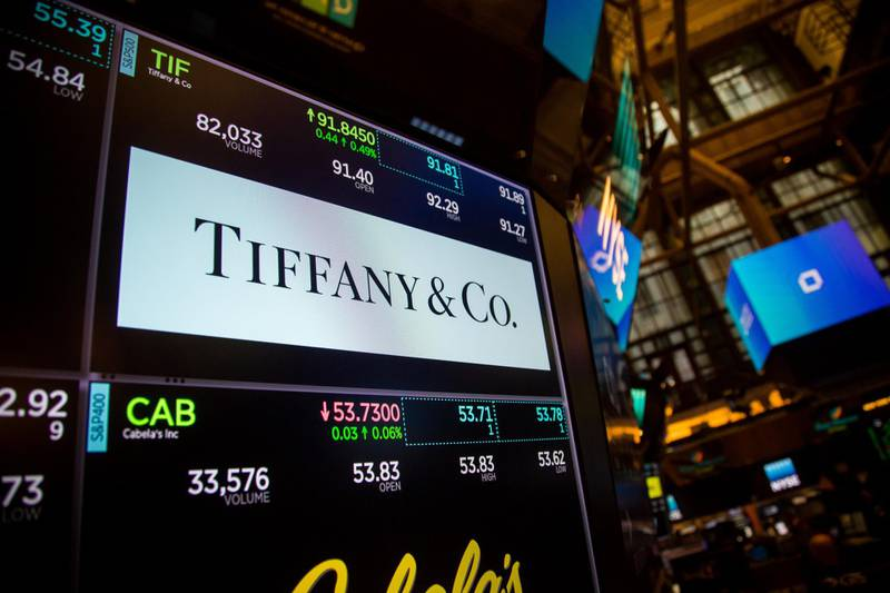 Tiffany & Co. signage is displayed on a monitor on the floor of the New York Stock Exchange (NYSE) in New York, U.S., on Friday, Sept. 1, 2017. U.S. stocks rose and Treasuries declined as reports showing a gain in consumer sentiment and a rise in manufacturing offset a mediocre August employmentreport. Photographer: Michael Nagle/Bloomberg