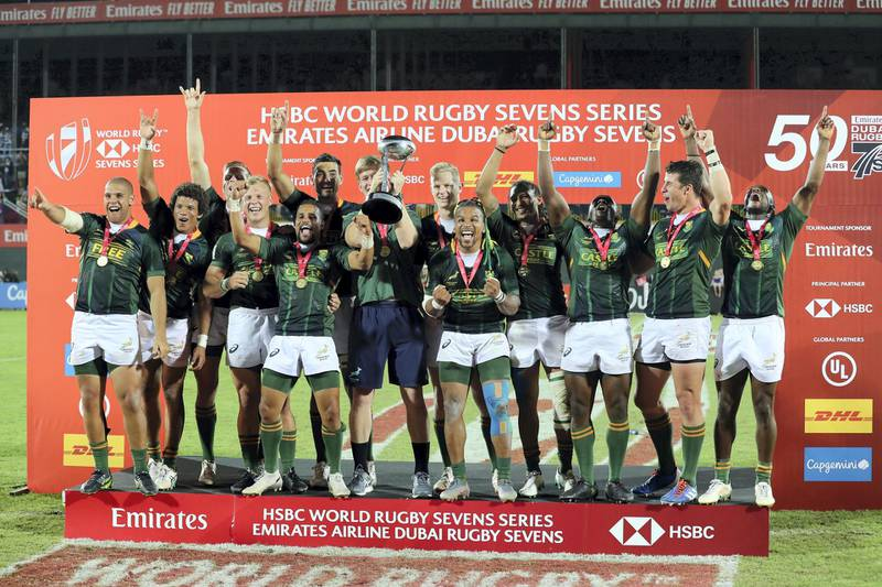 Dubai, United Arab Emirates - December 07, 2019: South Africa celebrate the win after the game between New Zealand and South Africa in the mens final at the HSBC rugby sevens series 2020. Saturday, December 7th, 2019. The Sevens, Dubai. Chris Whiteoak / The National